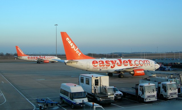 An easyJet plane at Luton Airport