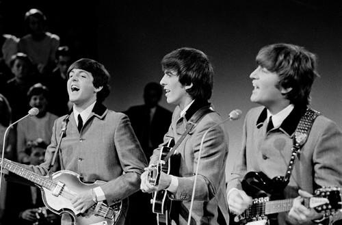 The Beatles performing live on TV