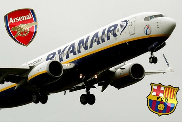Arsenal fans Ryanair 16th March