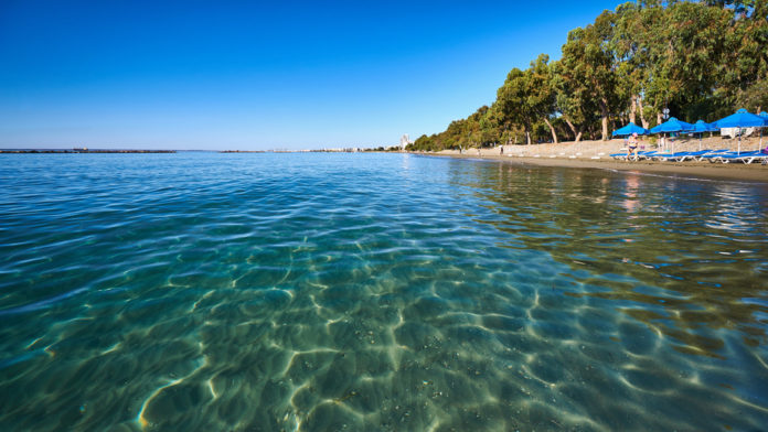 Clear sea water at Dasoudi beach in Limassol, Cyprus