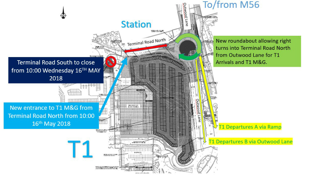 Manchester terminal rd closed t1 meet greet moved as you can see terminal road south is now shut but the t1 meet and greet entrance has moved closer to terminal road north to accommodate this m4hsunfo