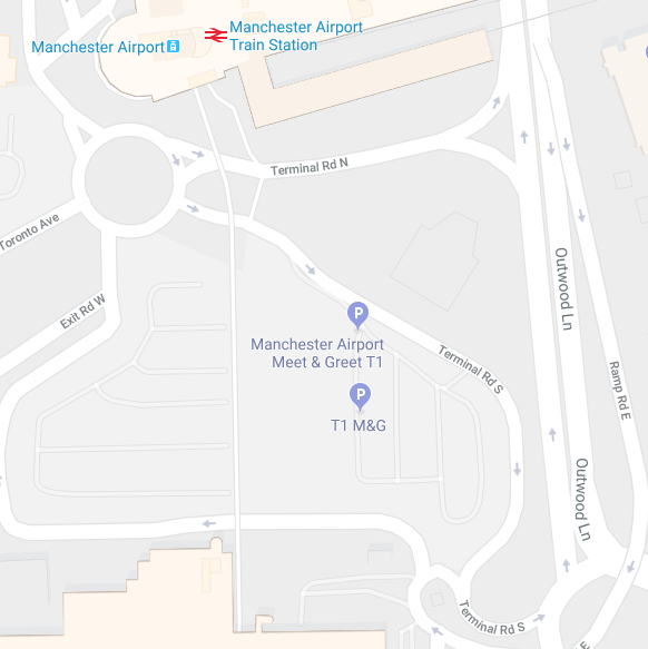 Manchester terminal rd closed t1 meet greet moved not only can we see all the relevant roads but the meet and greet t1 meeting point is handily marked as well m4hsunfo